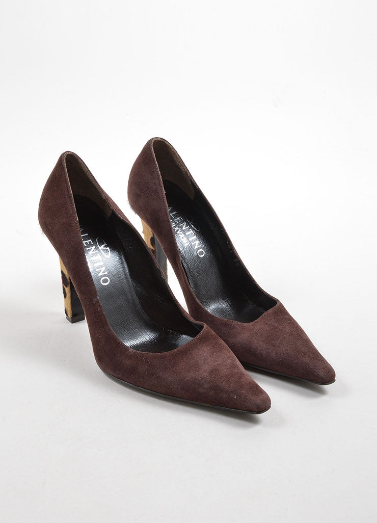 Valentino Brown Suede and Pony Hair Cheetah Print Heel Pointed Toe Pumps Frontview