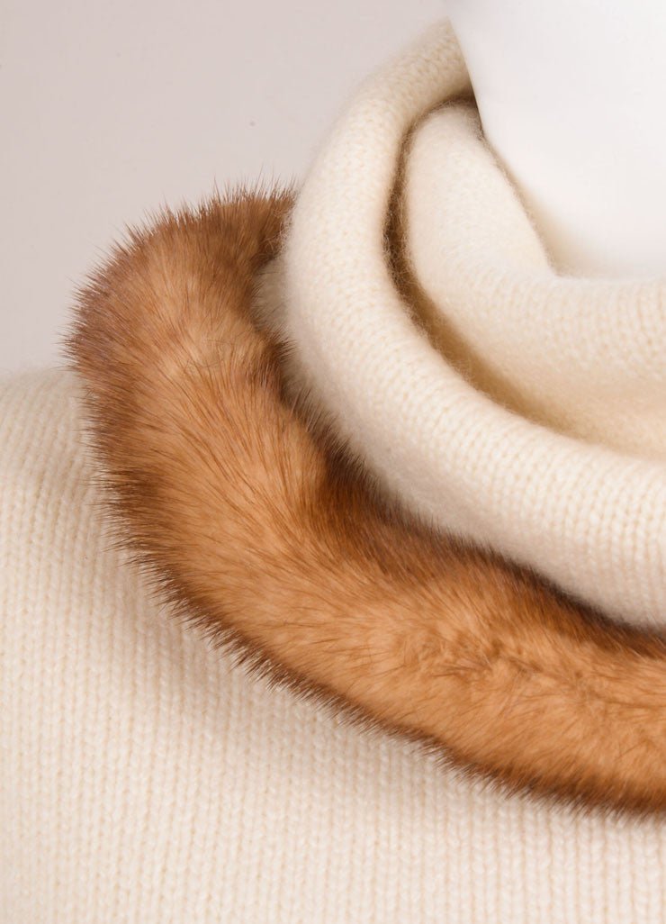 Valentino Cream Cashmere and Mink Trimmed Pull Over Sweater Detail
