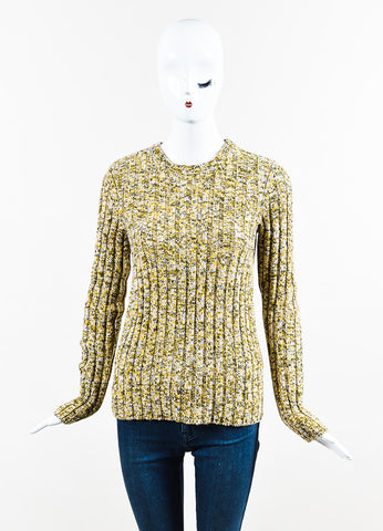 "Green and Yellow Valentino Wool Cashmere Blend ""Giallo"" Sweater Front"