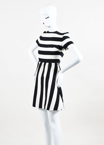 Valentino Black and White Wool Silk Striped Short Sleeve Dress Sideview