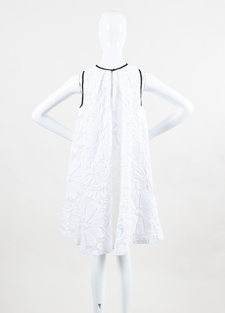 White VICTORIA Victoria Beckham Jacquard Pleated Tent Dress Back