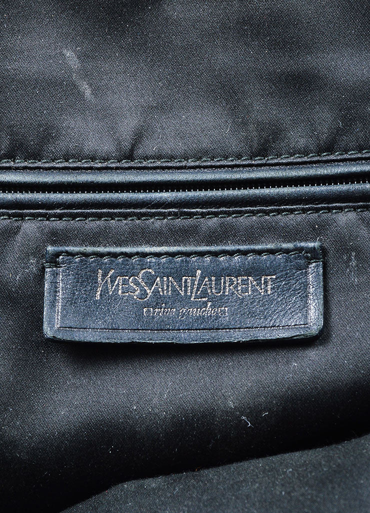 "Black and Silver Toned Yves Saint Laurent Leather ""Muse"" Tote Bag Brand"