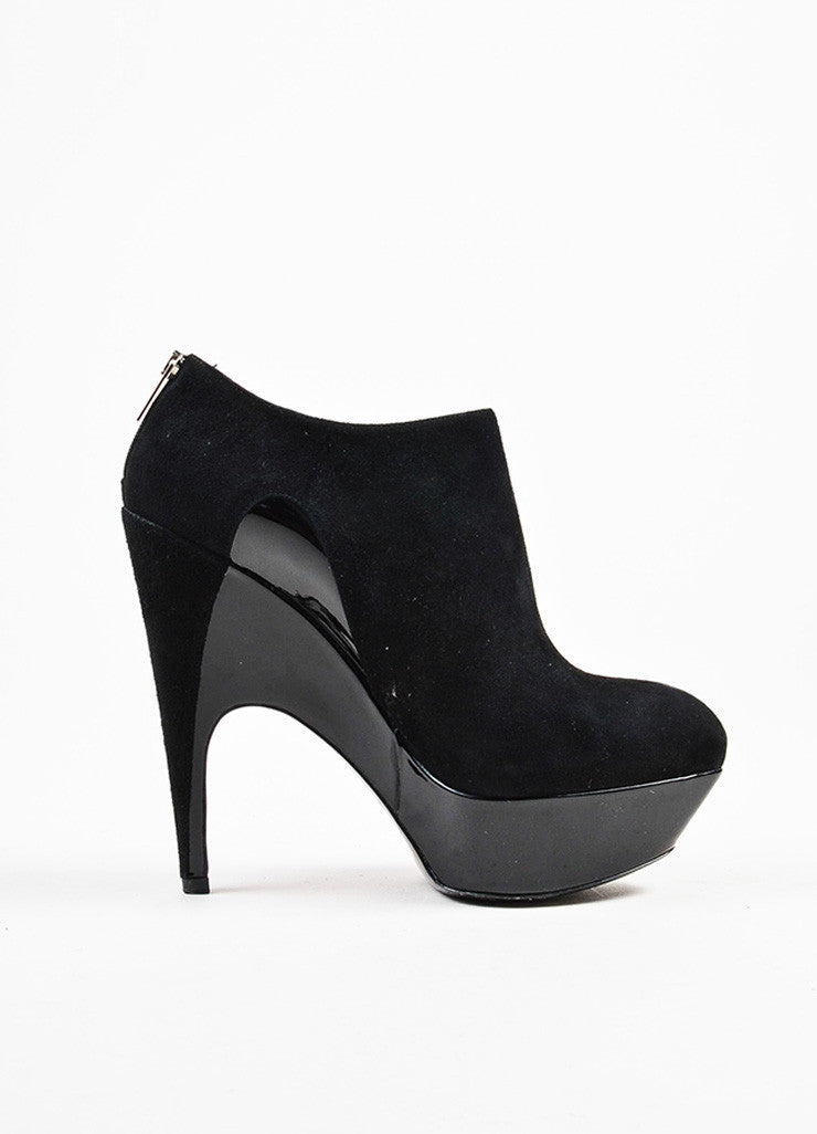 "Yves Saint Laurent Black Suede and Patent Leather ""Imperiale 95"" Booties Sideview"