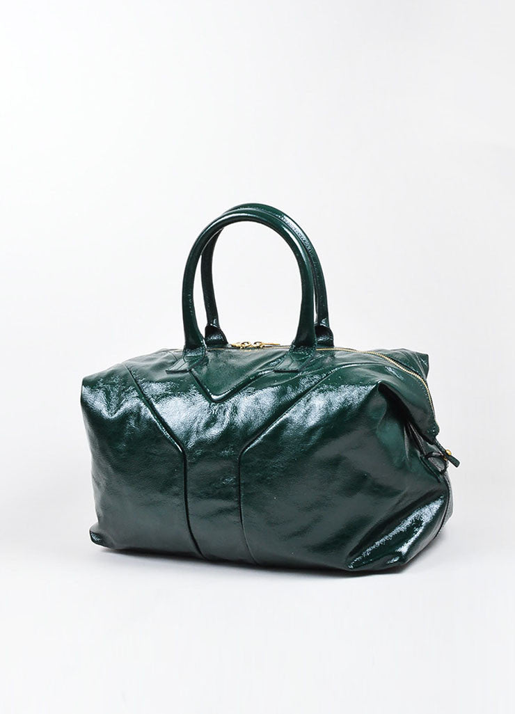 "Green Yves Saint Laurent Textured Patent Leather ""Easy"" Caryall Bag Backview"