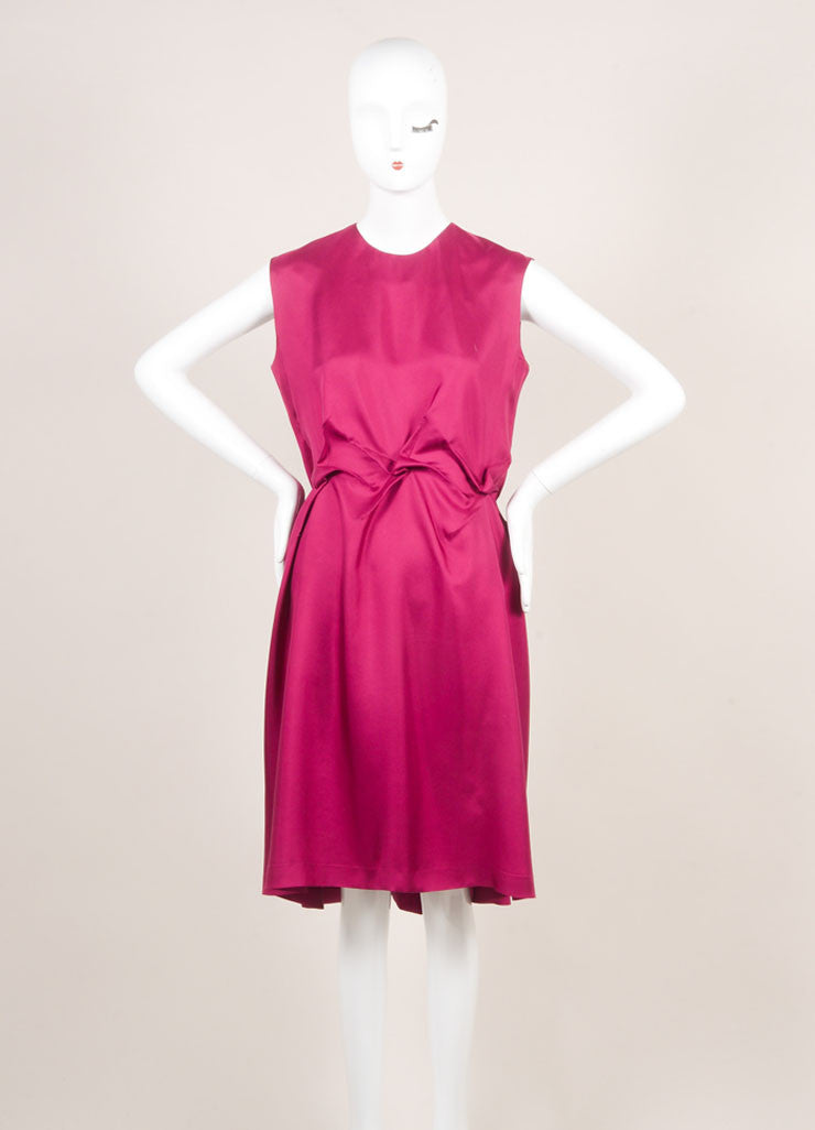 Yves Saint Laurent Magenta Sleeveless Puckered Waist Silk Dress Frontview