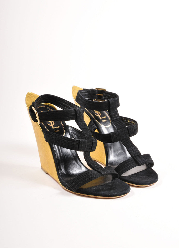 "Yves Saint Laurent Black and Gold Suede Metallic ""Totem"" Sandals Frontview"