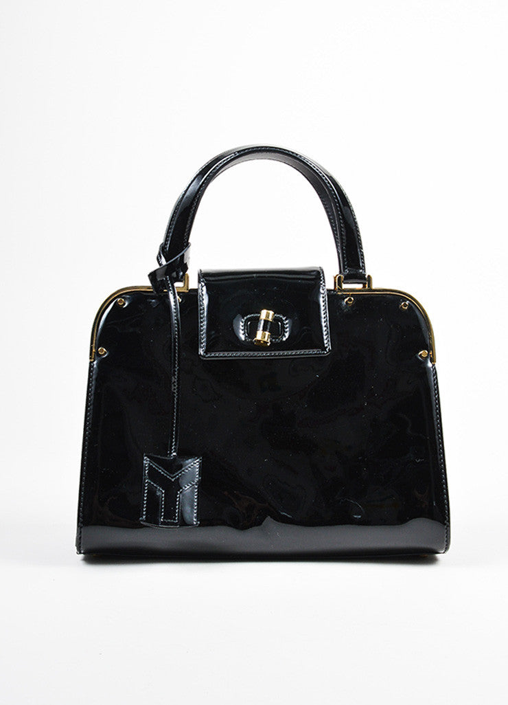 "Black and Gold Toned Yves Saint Laurent Rive Gauche Patent Leather ""Uptown"" Handbag Frontview"