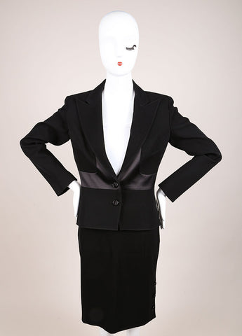 Valentino Black Wool and Silk Bow Embellished Skirt Suit Frontview