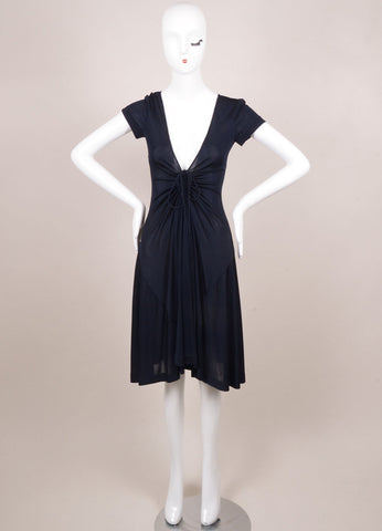 Rochas New With Tags Navy Sheer Ruched Deep V Dress Frontview