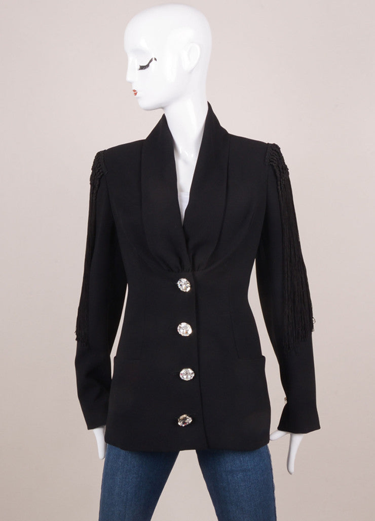 Black Fringe Rhinestone Detail Jacket