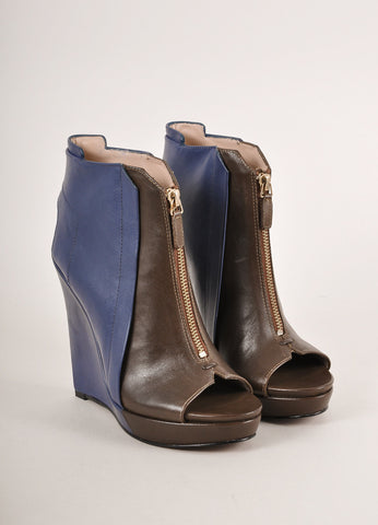 10 Crosby Derek Lam New In Box Brown and Blue Leather Zip Front Peep Toe Wedge Booties Frontview