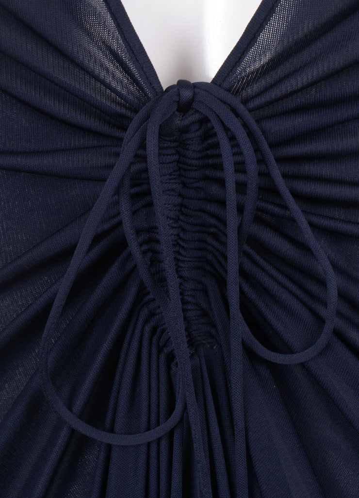 Rochas New With Tags Navy Sheer Ruched Deep V Dress Detail