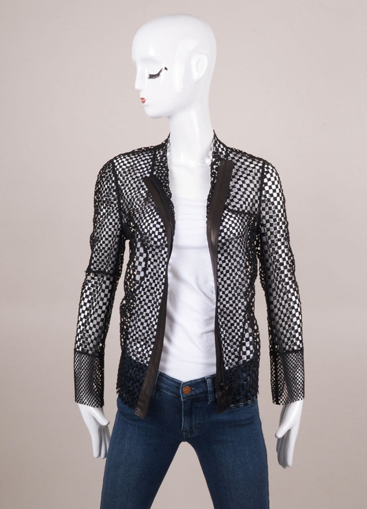 Black Akris Square Crocheted Jacket with Leather Trim