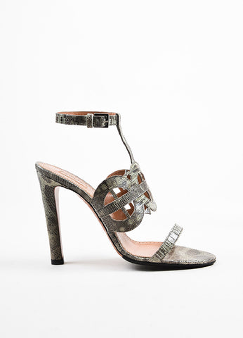 Grey Alaia Lizard Leather Cut Out Sandal Heels Sideview