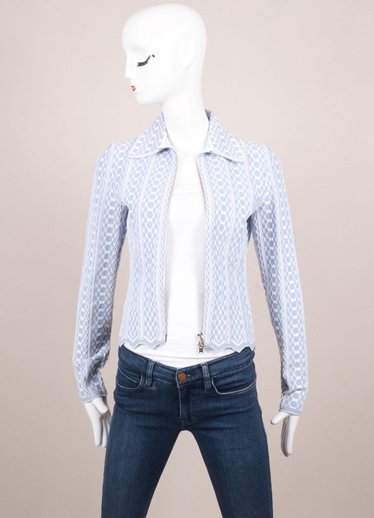 Alaia Blue and White Textured Pattern Long Sleeve Zip Jacket Frontview