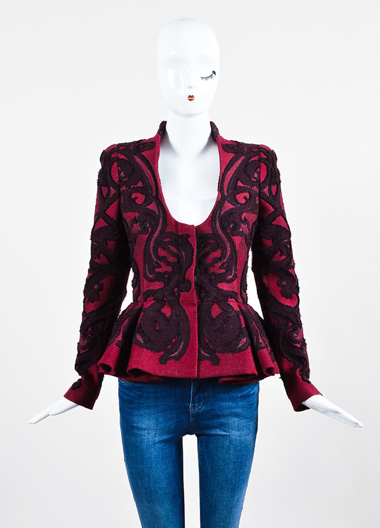 Maroon Wool Alexander McQueen Brocade Embroidered Peplum Jacket Frontview 2