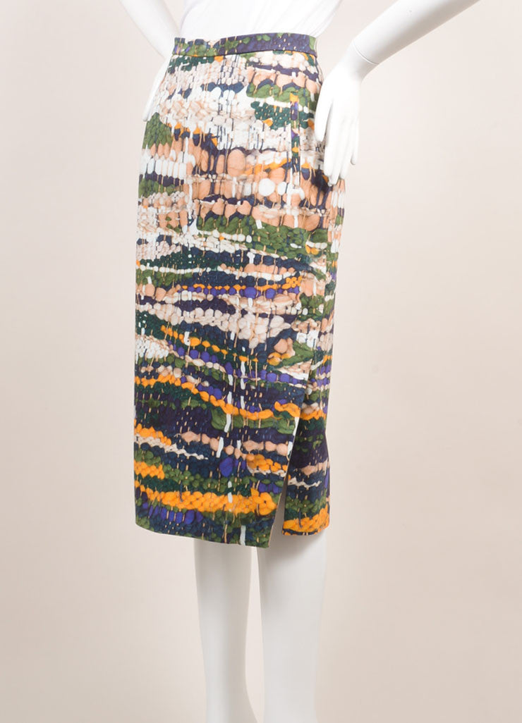 Altuzarra New With Tags Green, Blue, and Yellow Weave Print Pencil Skirt Sideview