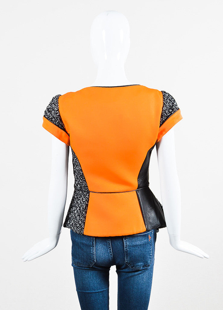 Antonio Berardi Black, White, and Orange Cotton and Faux Leather Cinched Short Sleeve Jacket Backview