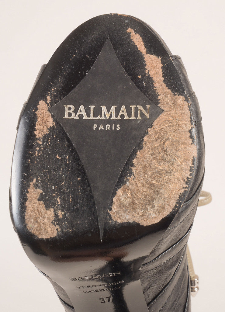 Balmain Black Leather Lace Up Peep Toe Booties Brand