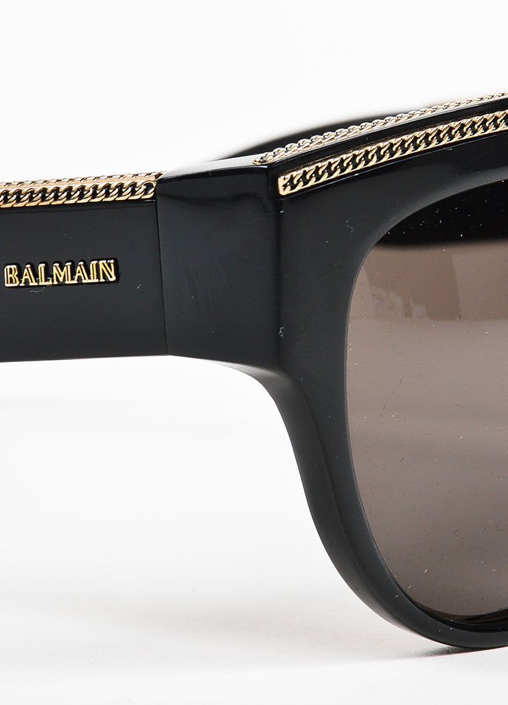 Balmain Black, Grey, and Gold Toned Chain Detailed Dark Tinted Shield Sunglasses Detail