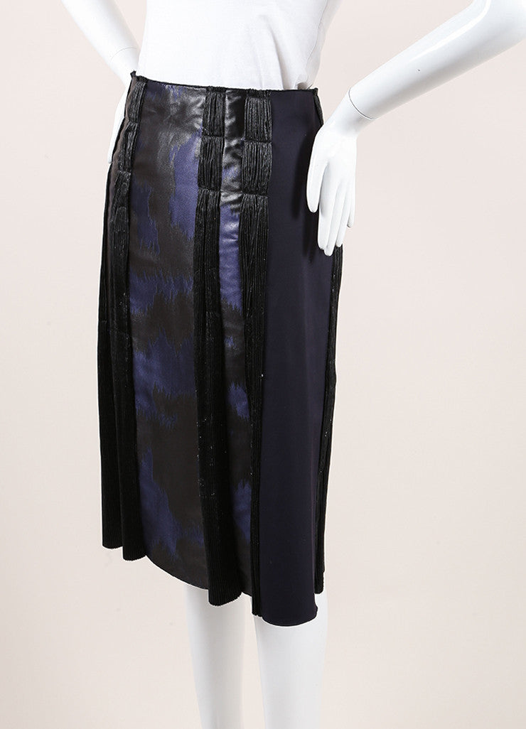 Bottega Veneta Navy and Black Woven Jacquard Plisse Striped A-Line Skirt Sideview