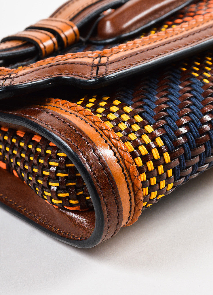 Burberry Prorsum Brown and Multicolor Leather Woven Gold Toned Buckle Flap Clutch Bag Detail