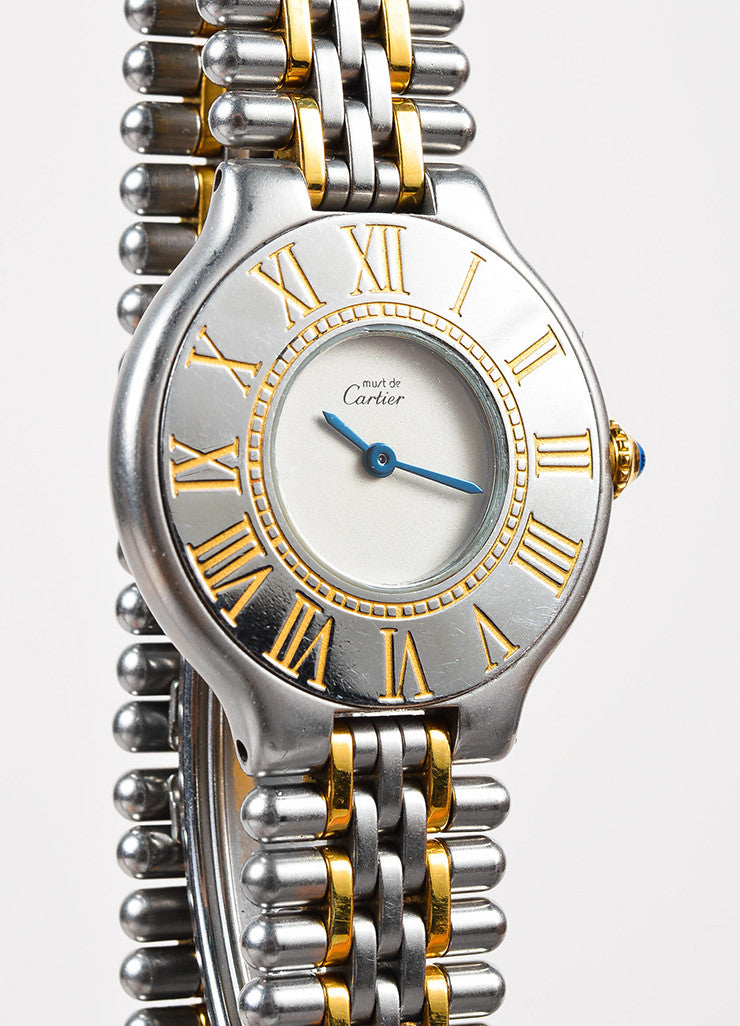 "Cartier Stainless Steel and 18K Gold ""Must de Cartier"" Roman Numeral Quartz Watch Detail"