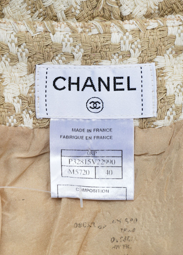 Chanel Taupe and White Silk Woven Houndstooth Pencil Skirt Brand