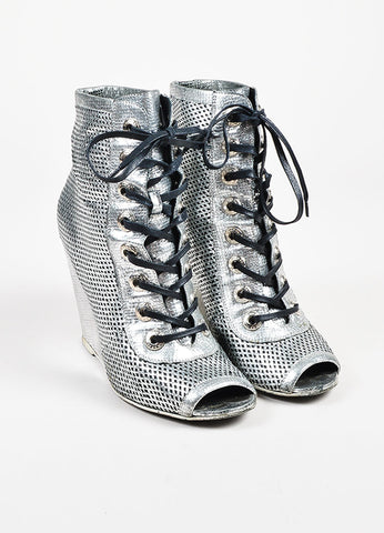 Chanel Silver Metallic Perforated Leather Lace Up Wedge Booties Frontview