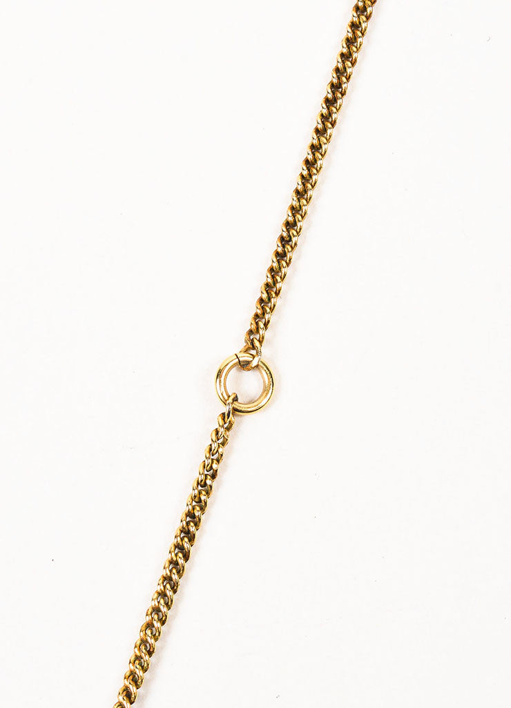 Gold Toned Chanel Textured 'CC' Logo Pendant Chain Necklace Detail 3