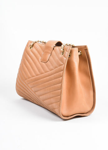 "Blush Tan Leather Gold Toned Chevron Quilted Chain Chanel ""Accordion"" Tote Bag Sideview"