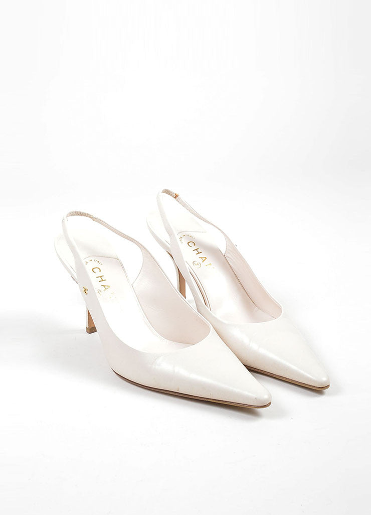 Cream Chanel Leather Pointed Toe 'CC' Slingback Pumps Frontview
