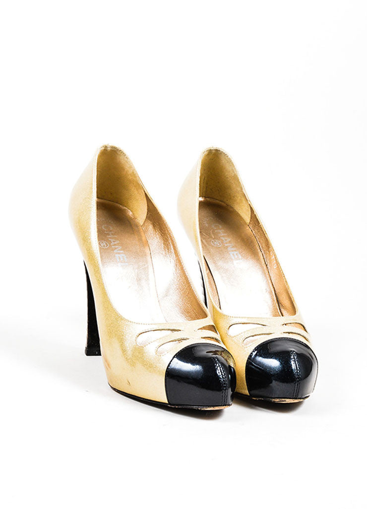 Gold and Black Chanel Patent Leather Glitter Pumps Front