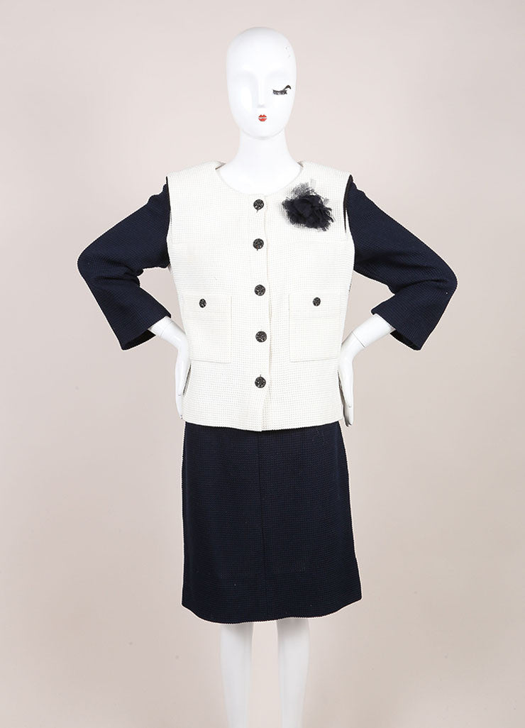 Chanel Navy and Cream Woven Color Block Crop Sleeve Jacket and Pencil Skirt Suit Frontview