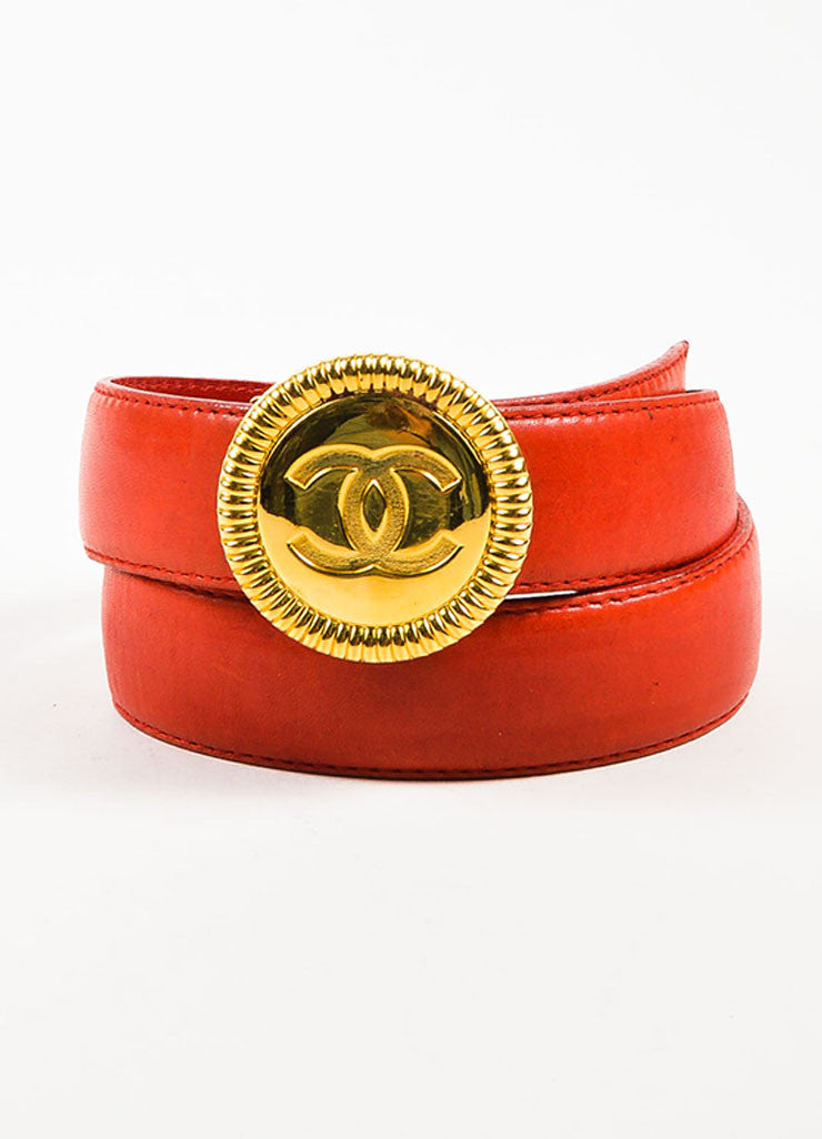 Chanel Red Leather Gold Toned 'CC' Circle Medallion Buckle Belt Frontview