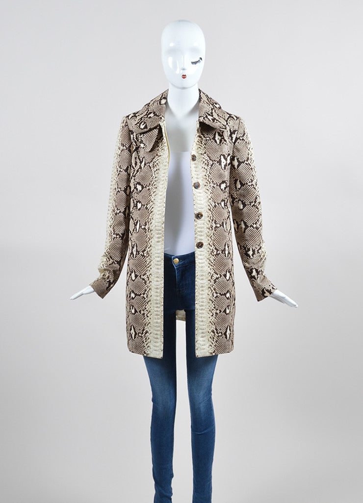 Brown and Beige Chloe Snakeskin Print Cotton Coat Frontview
