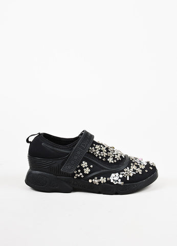 "Christian Dior Black Mesh Rhinestone Beaded Slip On ""Dior Fusion"" Sneakers Sideviews"