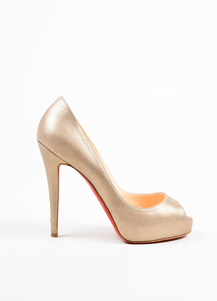"Christian Louboutin Pale Gold Leather Peep Toe ""Very Prive"" Pumps Sideview"