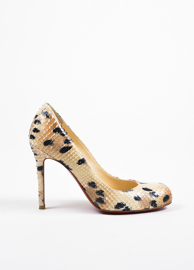 "Christian Louboutin Beige and Black Spotted Python Round Toe ""Simple"" Pumps Sideview"