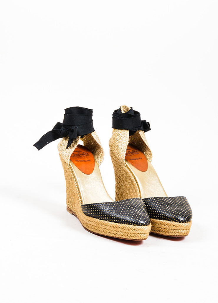 Black and Gold Christian Louboutin Perforated Leather Espadrille Wedges Frontview