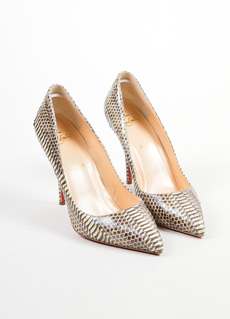 "Christian Louboutin Cream and Taupe Python ""Batignolles 100"" Point Pumps Frontview"