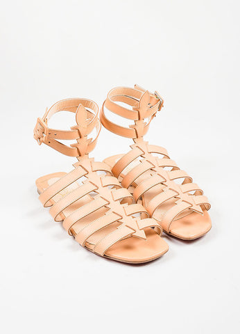 "Nude Christian Louboutin Leather Gladiator ""Neronna"" Flat Sandals Frontview"
