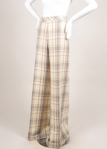 Delpozo New With Tags Cream, Red, and Black Wool Plaid Ultra Wide Leg Trousers Sideview