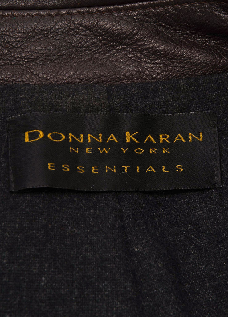 Donna Karan Dark Brown Leather Double Breasted Long Sleeve Jacket Brand