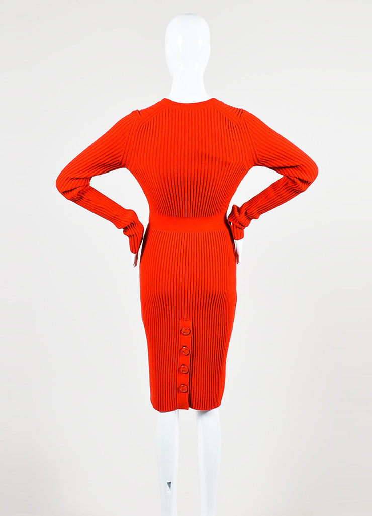 "Fendi ""Geranium"" Red Cashmere Rib Knit Long Sleeve V-Neck Sweater Dress Backview"