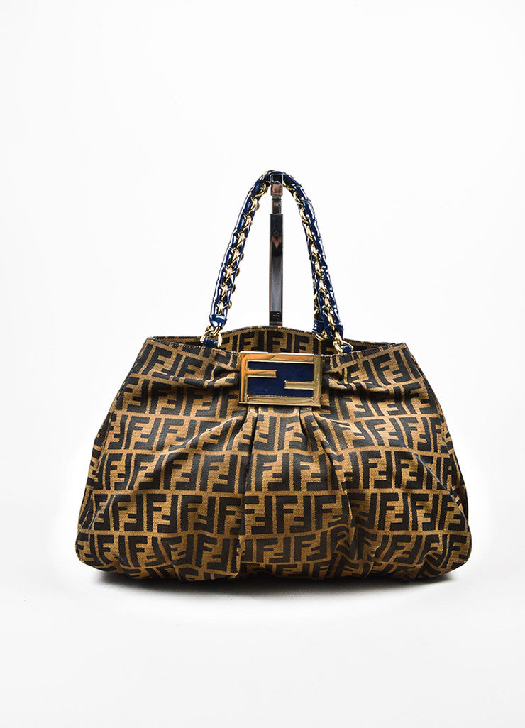 "Fendi Tan, Brown, and Blue Canvas 'FF' Monogram ""Zucca Mia Chain"" Shoulder Bag Frontview"