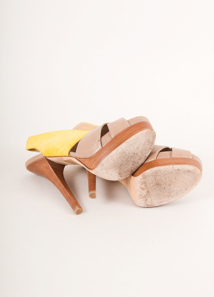 Fendi Yellow and Tan Suede Leather Cut Out Platform Sandals Outsoles