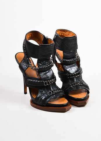 Black Givenchy Leather Chain Link High Heel Gladiator Sandals Frontview