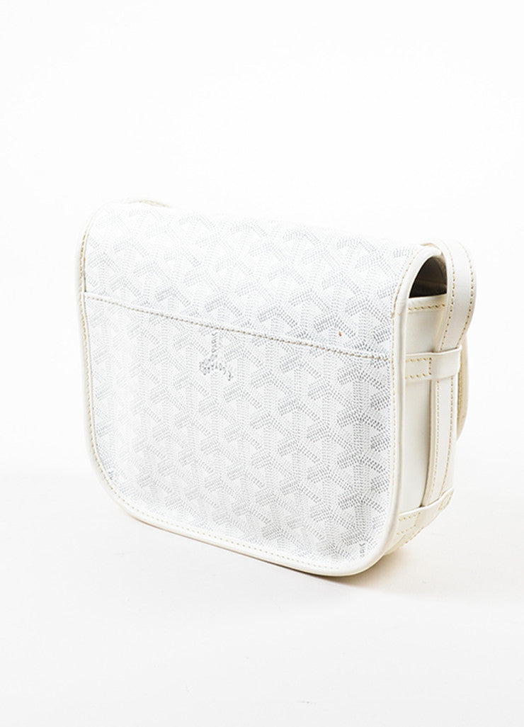 "Goyard White Goyardine Coated Canvas ""Belvedere PM"" Leather Crossbody Bag Sideview"