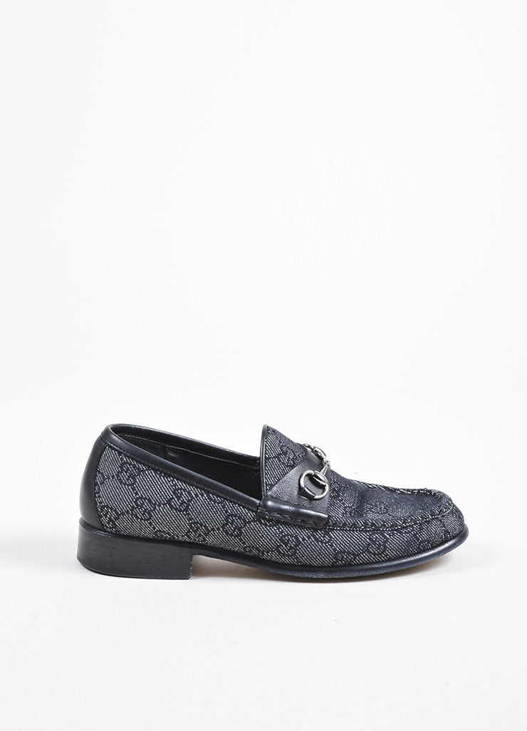 Gucci Black and White Denim and Leather 'GG' Monogram Horse Bit Loafers Sideview